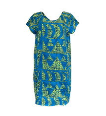 Hoaka, Green Blue (linen) - Women's Short Sleeve Dress