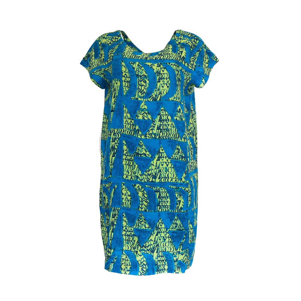 Hoaka, Green Blue (linen) - Women's Short Sleeve Dress