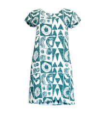Makawalu, Jade White (linen) - Women's Short Sleeve Dress
