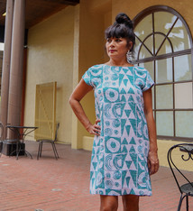 Makawalu, Jade White (linen) - Women's Short Sleeve Dress