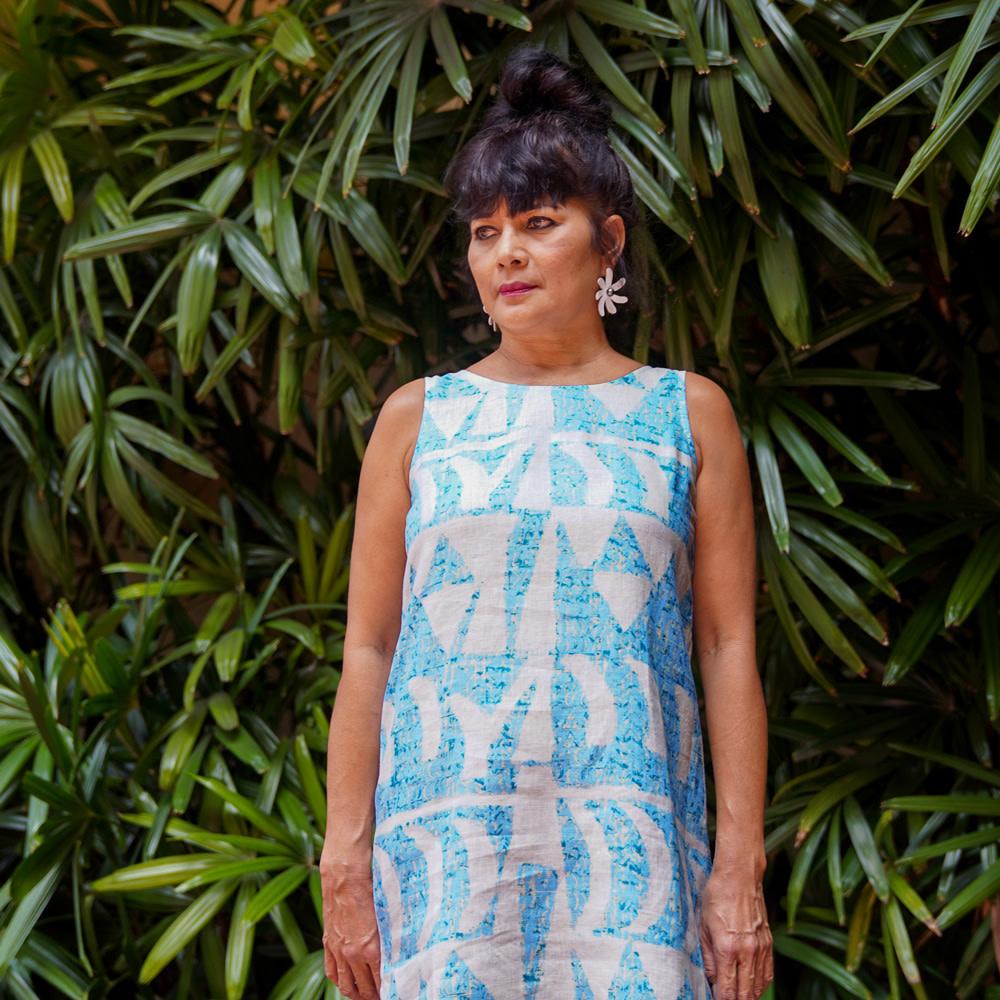 Hoaka, Aqua Light (linen) - Women's Sleeveless Shift Dress