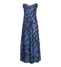 Hoaka, Blue Night (silk) - Women's V-Neck Long Dress