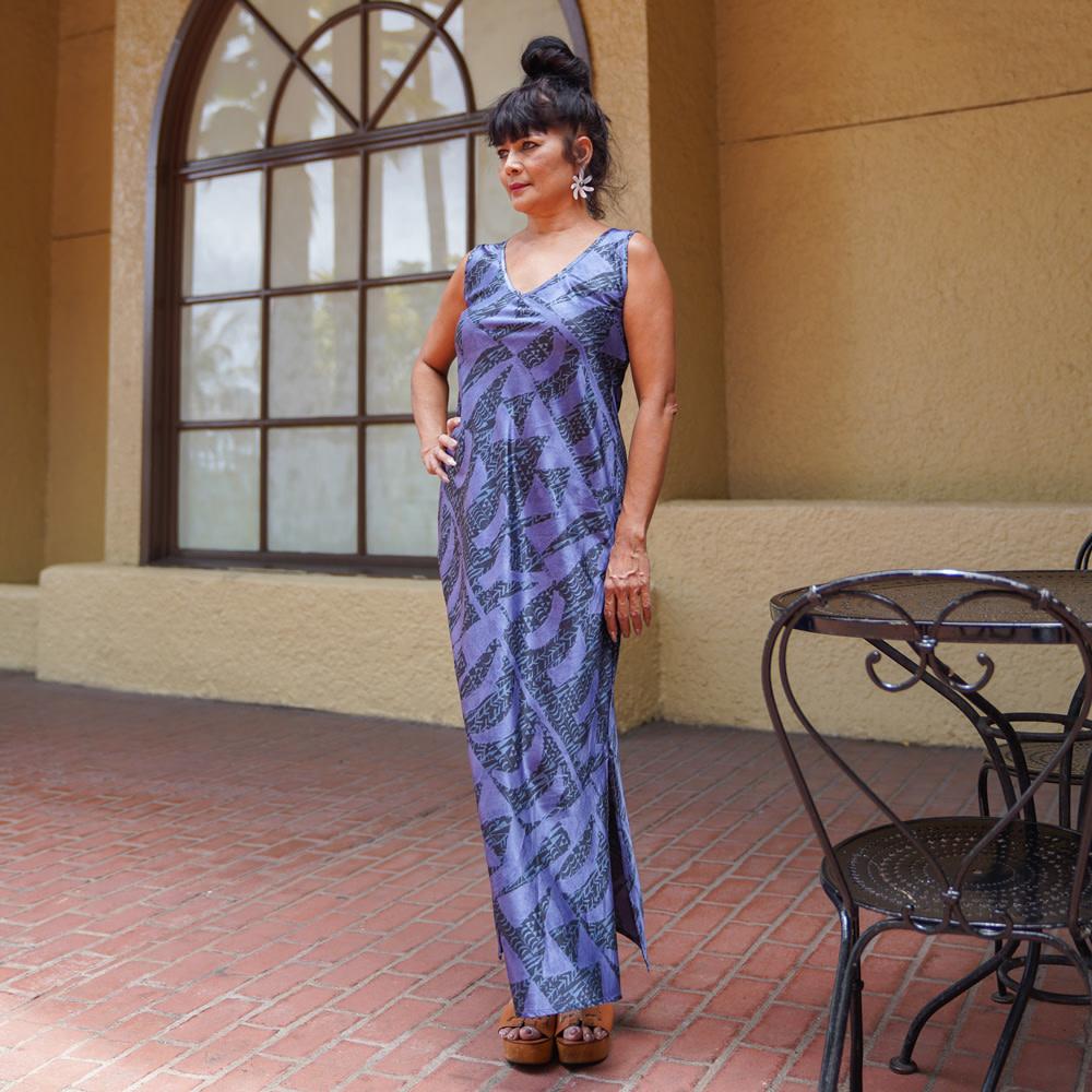 Hoaka, Blue Night (silk) - Women's V-Neck Long Dress