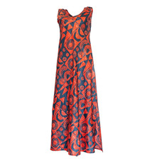 Makawalu, Lava (silk) - Women's V-Neck Long Dress