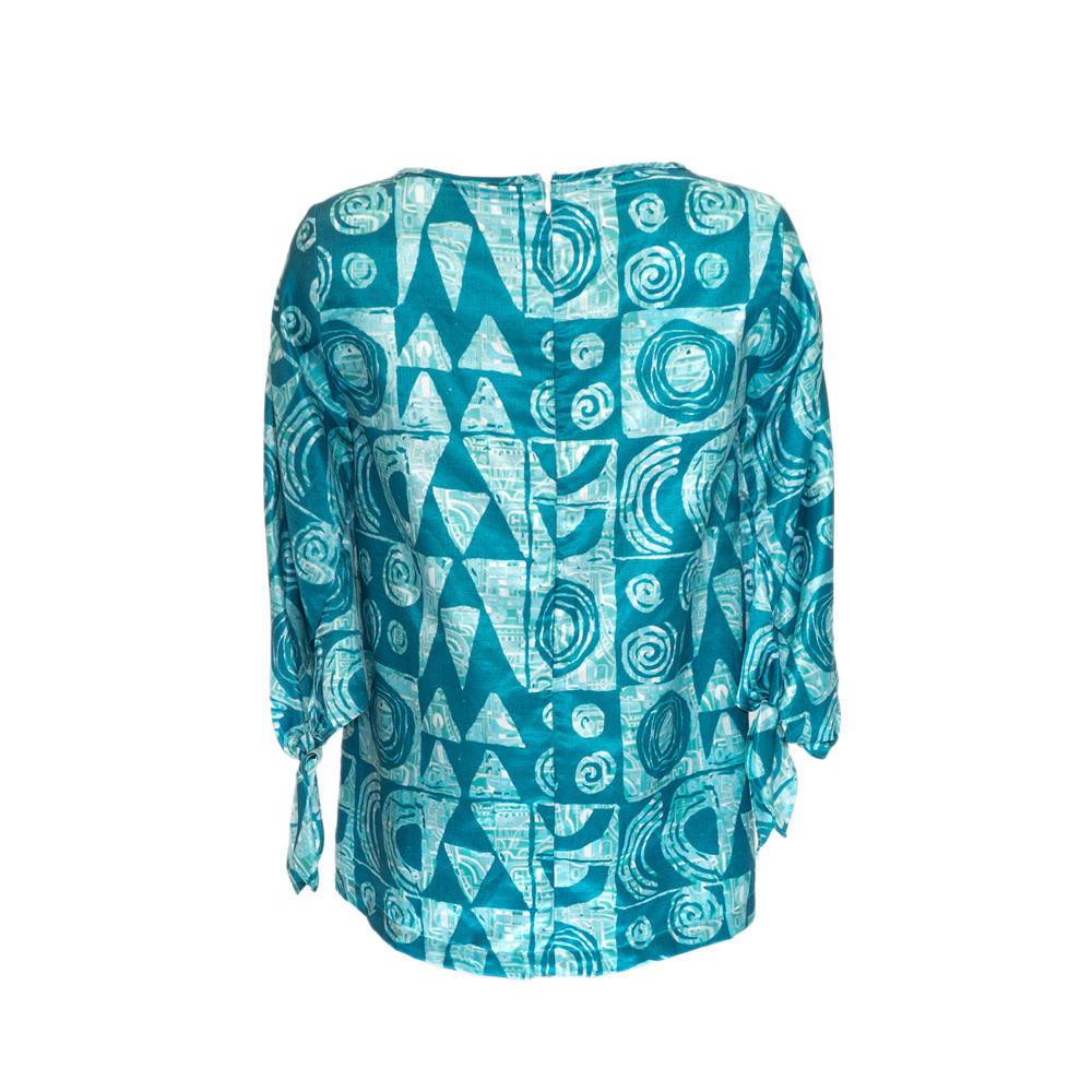 Makawalu, Ocean (silk) - Women's Tie Sleeve Top