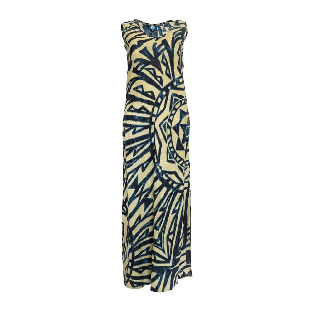 Mai Ka Ho'oku'i, Sand Blue (linen) - Women's V-Neck Long Dress