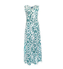 Makawalu, Jade White (linen) - Women's V-Neck Long Dress