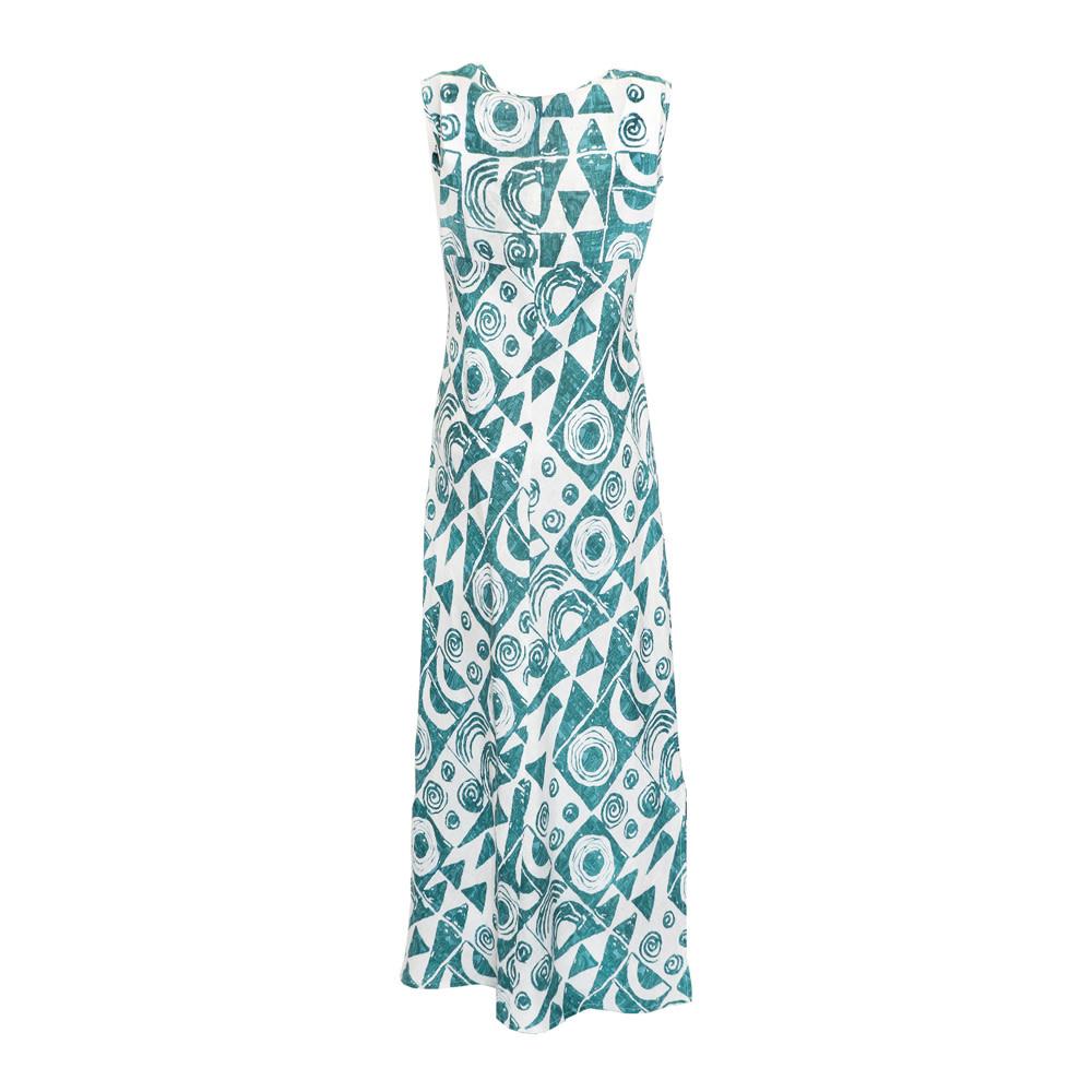 Makawalu, Jade White (linen) - Women's V-Neck Long Dress