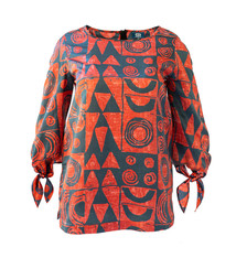 Makawalu, Lava (silk) - Women's Tie Sleeve Top