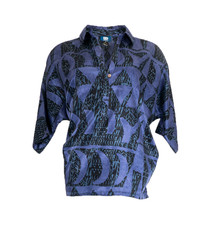 Hoaka, Blue Night (silk) - Women's V-Neck Blouse
