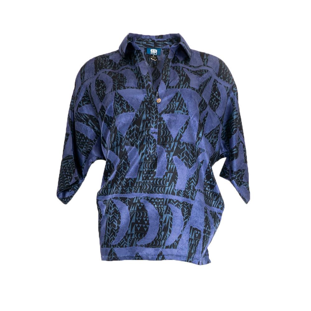 Hoaka, Blue Night (silk) - Women's V-Neck Blouse