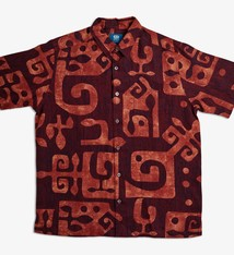 Tahiti, Wine Rust (linen) - Men's Limited Edition Button-down Aloha Shirt Rust