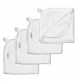 Iplay Muslin Washcloths made from organic cotton, white - 4 pk