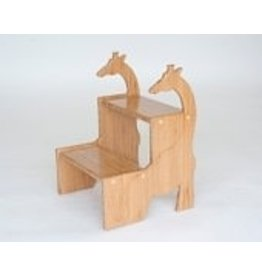 Pop-Pops's Giraffe Step Stool, <br /> Bamboo - made in the USA