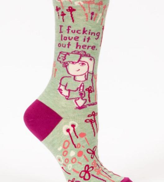 Blue Q Women's Crew Socks: I Fucking Love It  - Garden