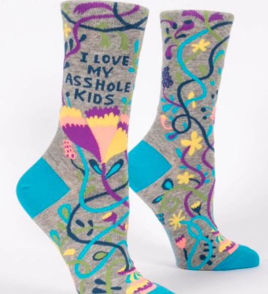 Blue Q Women's Crew Socks: Love my Asshole Kids