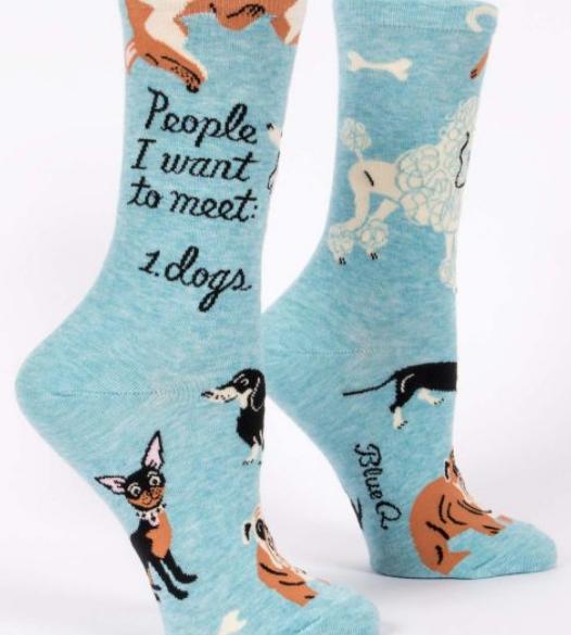 Blue Q Women's Crew Socks: People to meet: Dogs