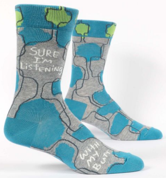 Blue Q Men's Socks: Sure I'm Listening