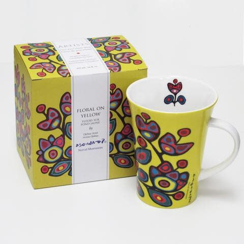 Oscardo Norval Morrisseau Floral on Yellow Porcelain Mug