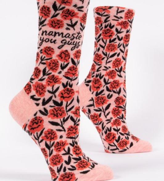 Blue Q Women's Crew Socks: Namaste You Guys