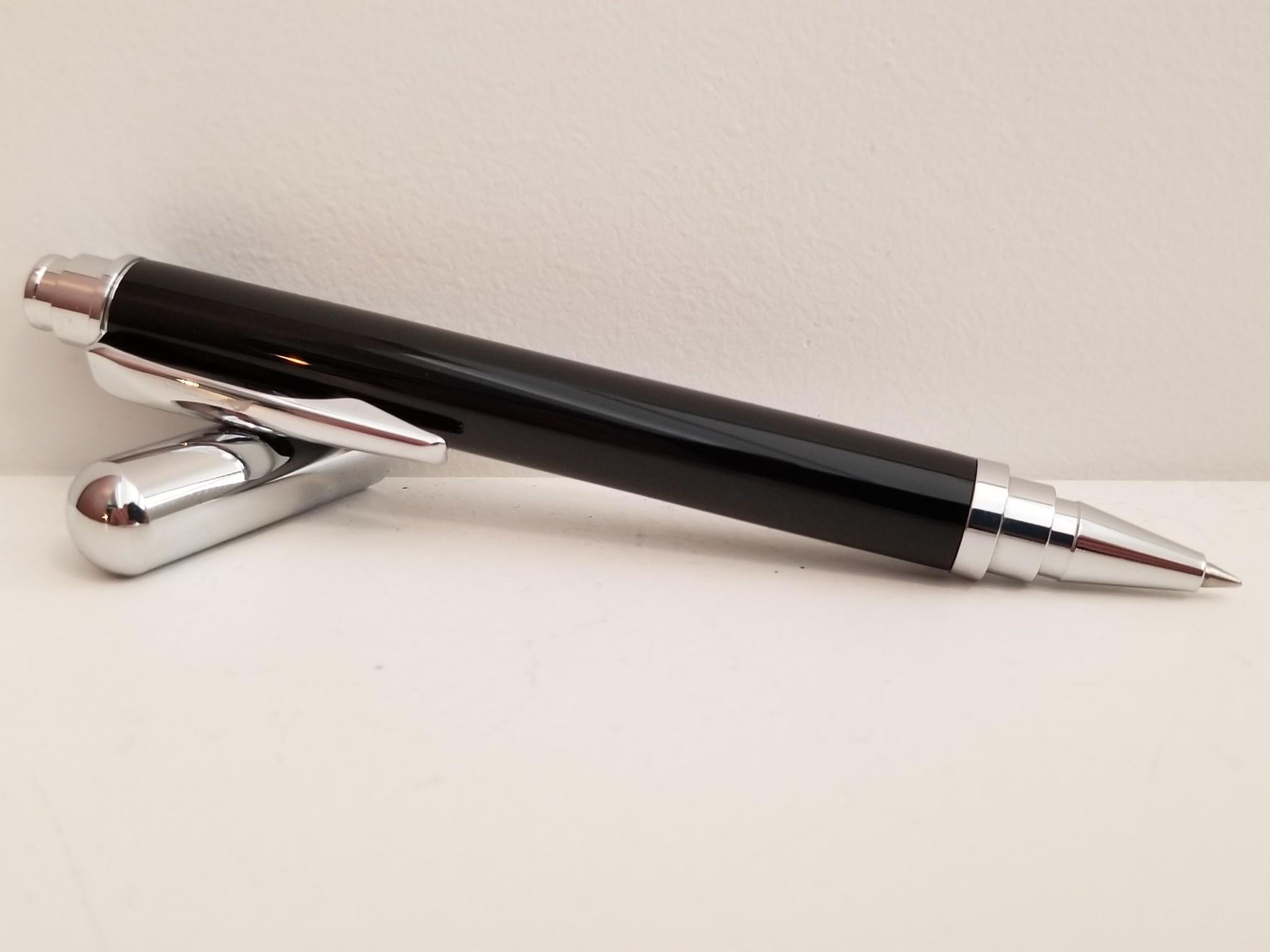 Red Box Pens Rollester Rollerball Pen - Chrome Plate & Onyx Resin