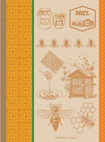 Garner-Thiebaut Miel et Abeilles Ocre Kitchen Towel