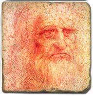 DaVinci Self Portrait C- Marble Coaster