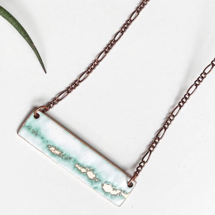 """Aflame Creations Necklace 18"""" Chain -  White and Copper - Seafoam Bar"""