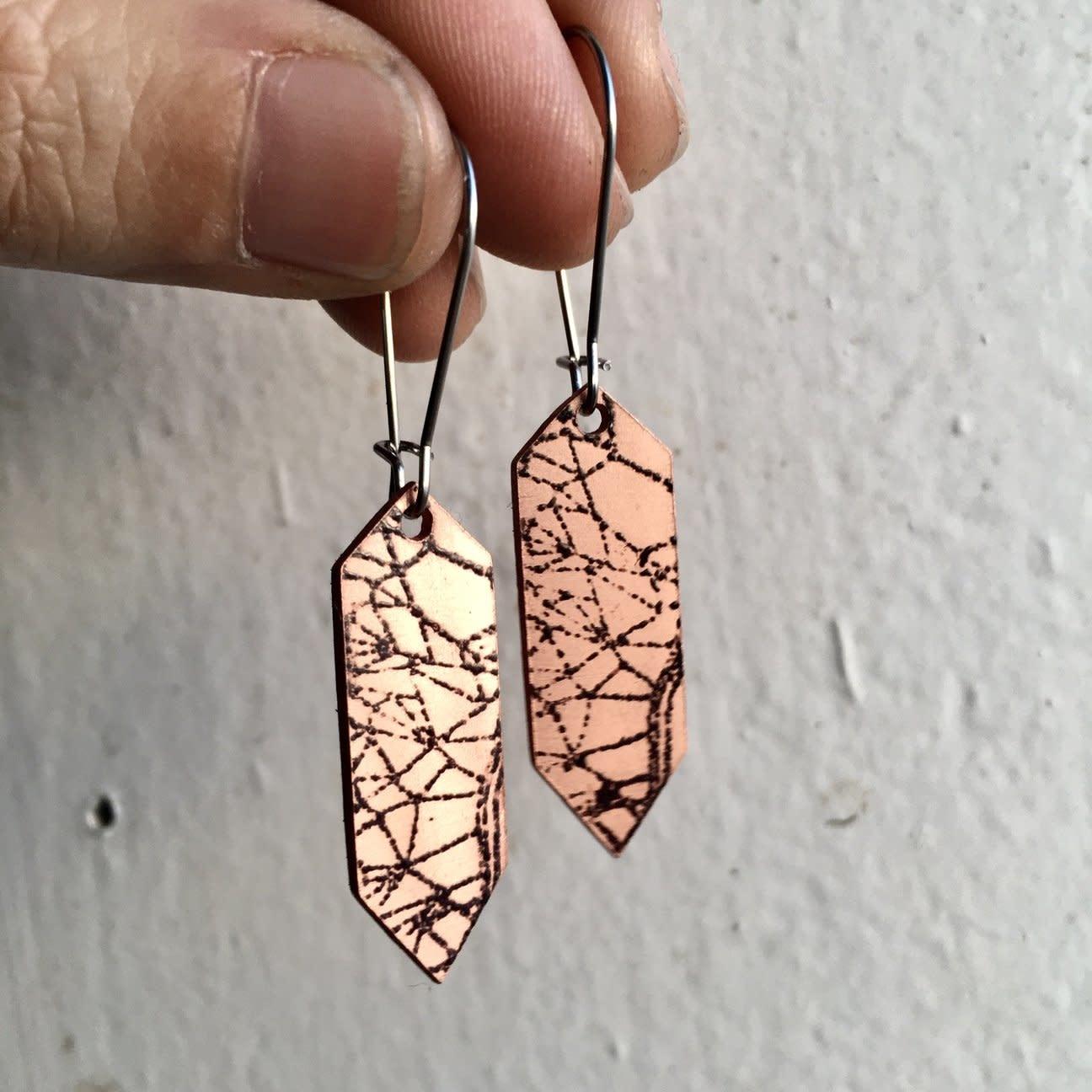 Aflame Creations Crystal Earrings Geode Black