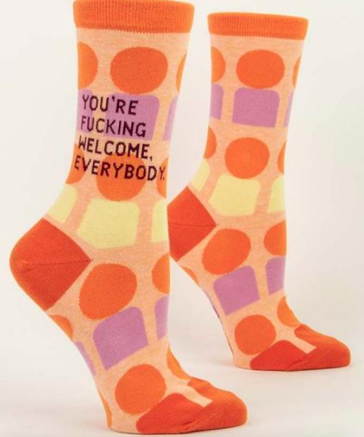 Blue Q Women's Crew Socks: You're fucking Welcome