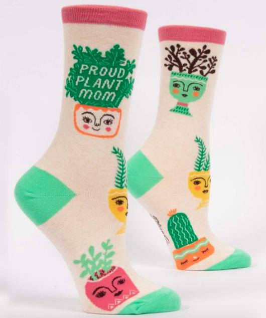 Blue Q Women's Crew Socks: Proud Plant Mom