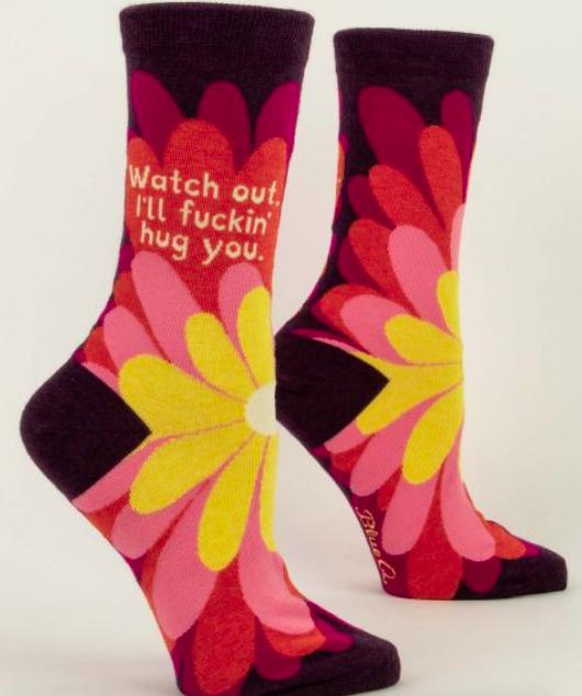 Blue Q Women's Crew Socks: Watch out