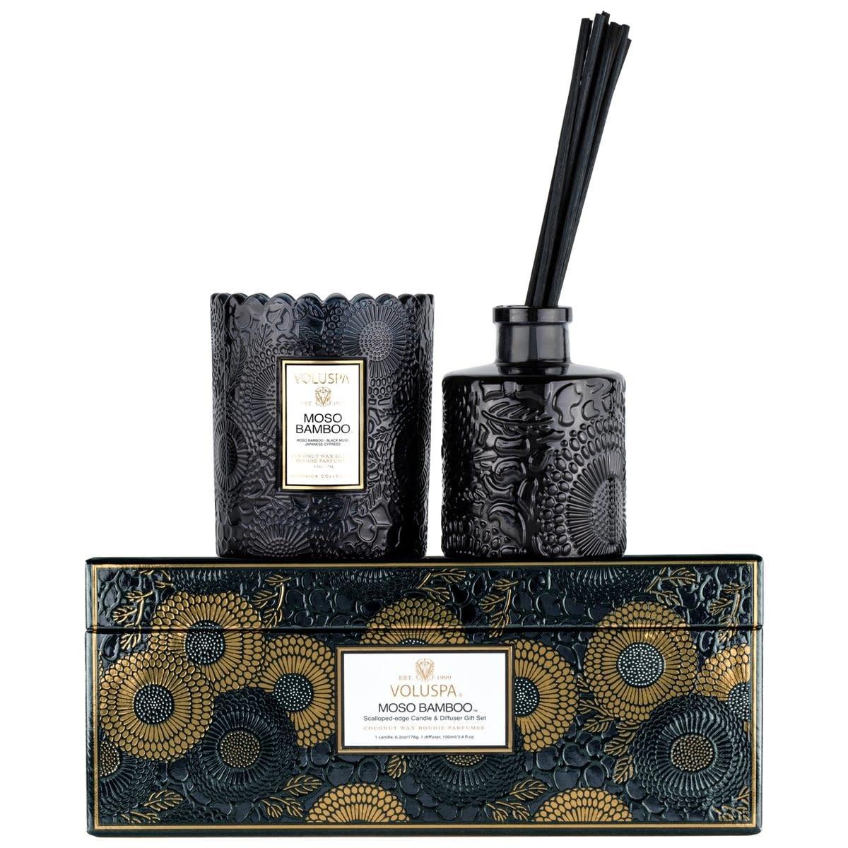 Voluspa Moso Scalloped Candle + Diffuser gift set
