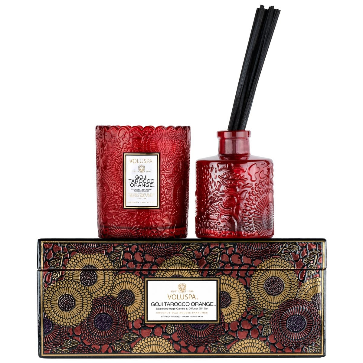 Voluspa Goji Scalloped Candle + Diffuser gift set