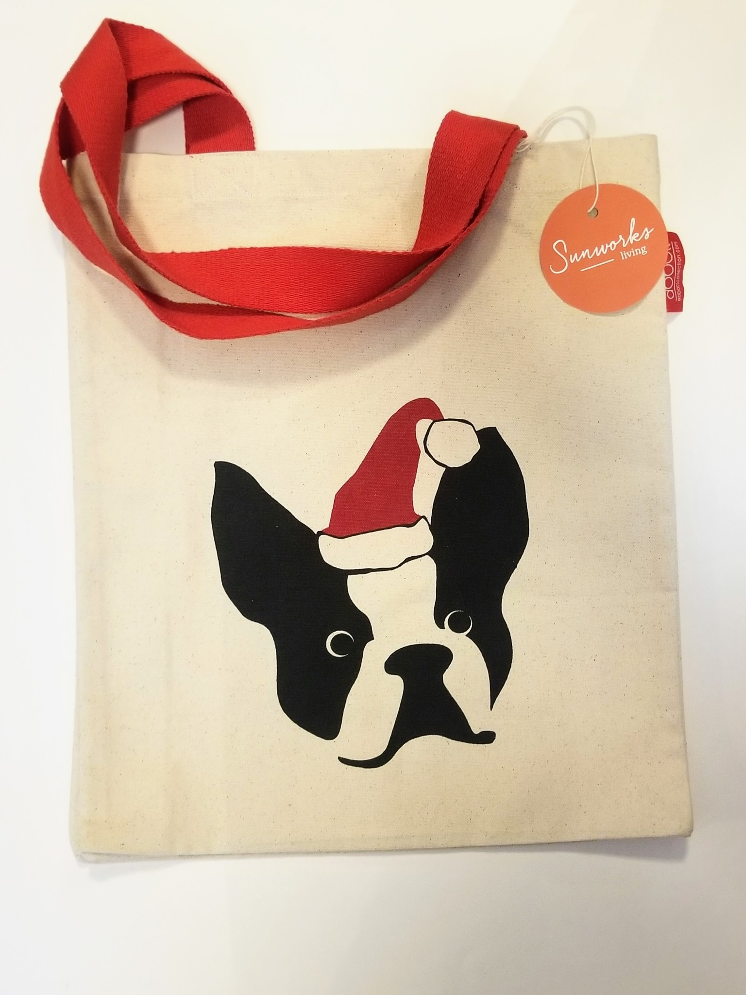 Dog w/Santa Hat Tote Bag - 15xl
