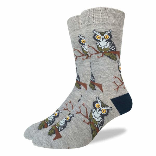 Good Luck Sock Mens Socks: Perching Owls