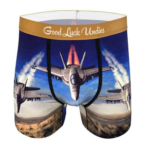 Good Luck Sock Mens Underwear: F/A 18 Hornet Combat Jet