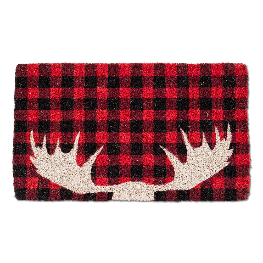 Abbott Doormat - Buffalo Check with Antlers