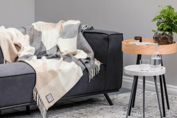 Foxford Woollen Mills Throw - Lacken Cashmere/Wool Oxford White Herringbone