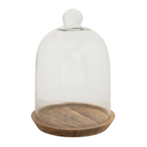 "6 3/4 Round x 5"" Glass Cloche W/ Mango Wood Base"