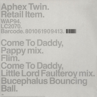 "Aphex Twin -- Come To Daddy 12"" vinyl single"