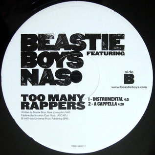 """Beastie Boys featuring Nas – Too Many Rappers 12"""" vinyl single"""