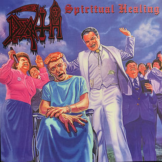 Death – Spiritual Healing LP pinwheels cyan blue and blood red, black and white splatter vinyl
