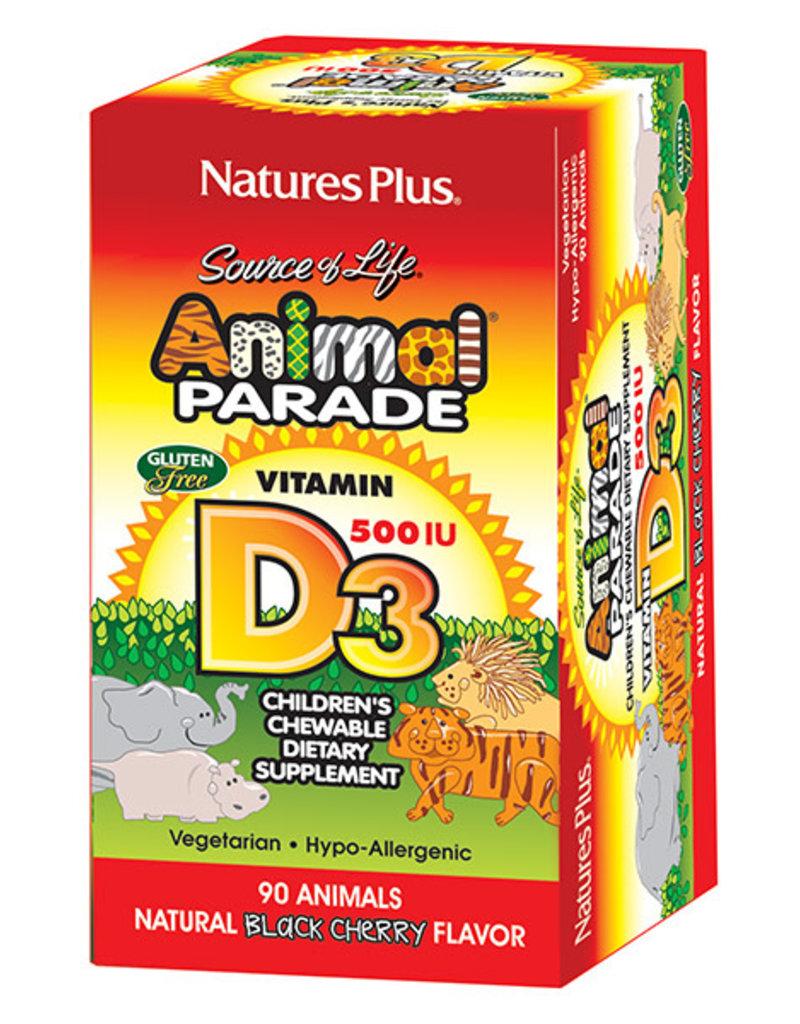NATURES PLUS ANIMAL PARADE VITAMIN D-3 500 IU 90CHW (m3)