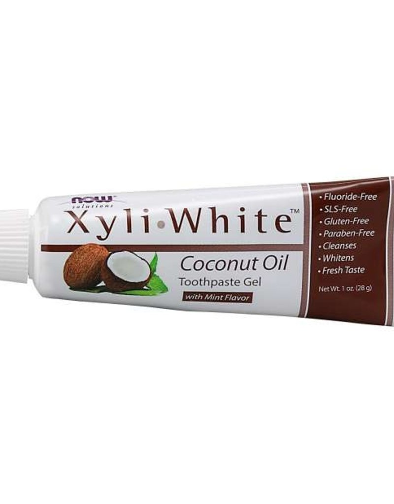 NOW FOODS TOOTHPASTE, GEL, XYLIWHITE COCONUT OIL TRIAL SIZE 1 OZ (single) -DXMFG (315 FISHBOWLS LEFT IN STOCK)