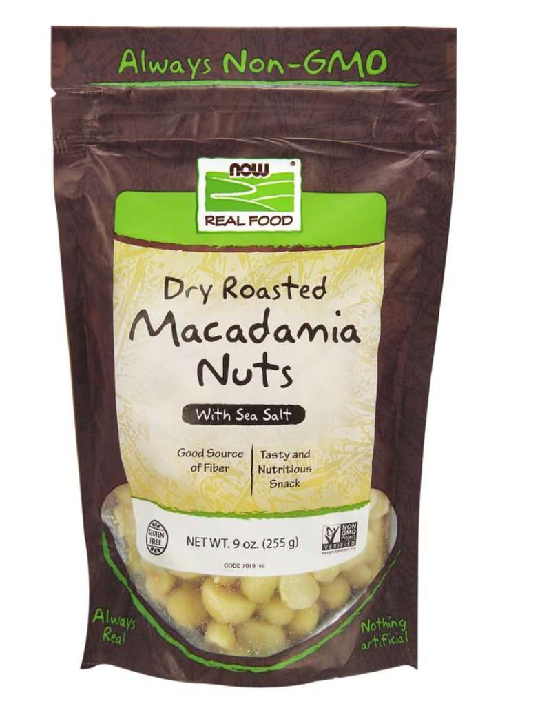 NOW FOODS MACADAMIA NUTS, DRY ROASTED & SALTED 9 OZ