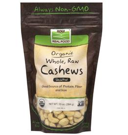 NOW FOODS CASHEWS, CERTIFIED ORGANIC WHOLE RAW 10 OZ