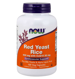NOW FOODS RED YEAST RICE W/ CoQ10, Sil, ALA 600MG 120VC