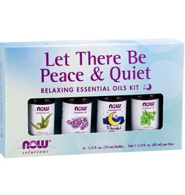 NOW FOODS ESSENTIAL OIL, KIT, LET THERE BE PEACE & QUIET 4 PK