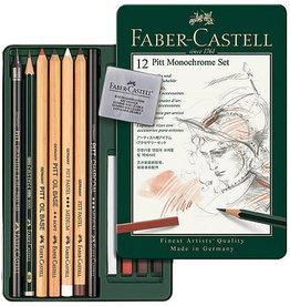 Faber-Castell Pitt Monochrome Set of 12 pencils charcoal eraser pastel